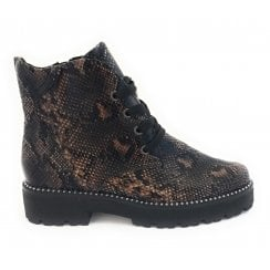 25705-33 Brown Reptile Print Lace-Up Ankle Boot