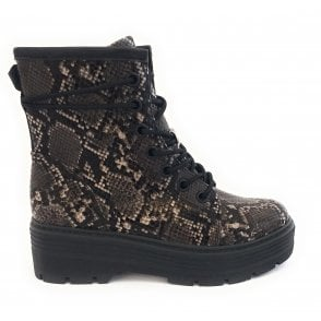 25707-33 Dark Grey Reptile Print Chunky Ankle Boot