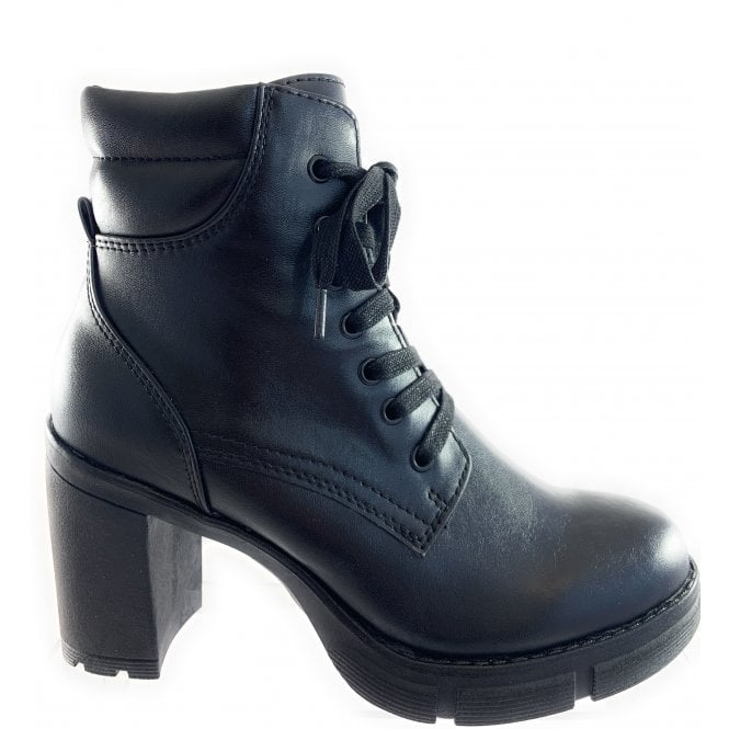 Marco Tozzi 25712-33 Black Leather Lace-Up Ankle Boot