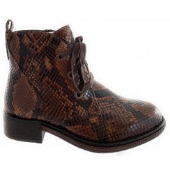 25715-33 Chestnut Brown Reptile Print Ankle Boot