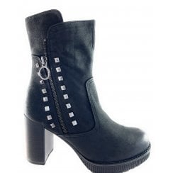 25801-23 Black Nubuck Heeled Ankle Boot