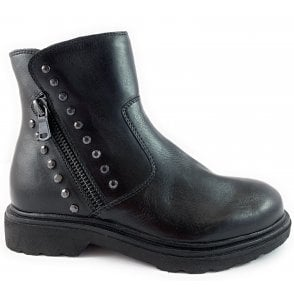 25805-23 Black Leather Biker Boot