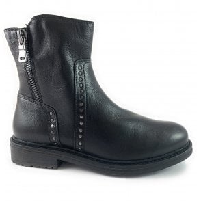 25809-23 Black Leather Ankle Boot
