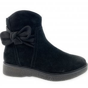 25833-33 Black Suede Ankle Boot
