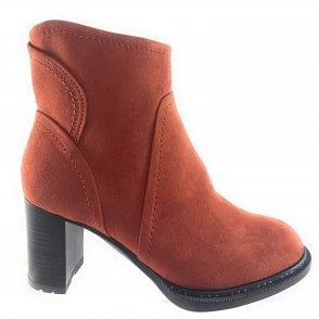 25841-33 Orange Faux Suede Ankle Boot