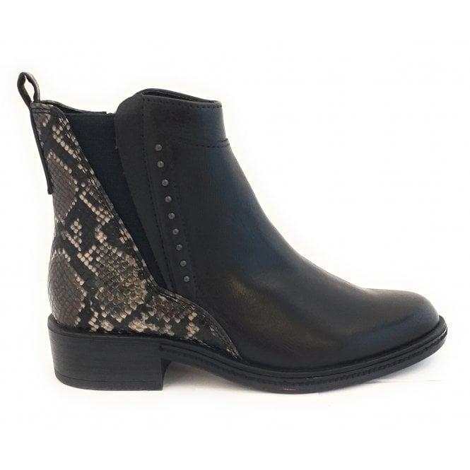 Marco Tozzi 25849-33 Black Reptile Print Ankle Boot
