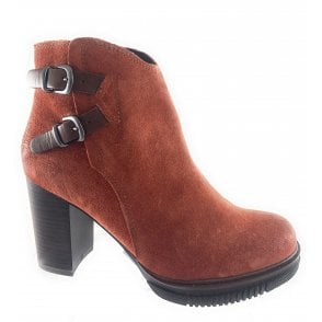 25858-33 Burnt Orange Suede Ankle Boot