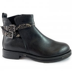 25861-33 Black Faux Leather Ankle Boot