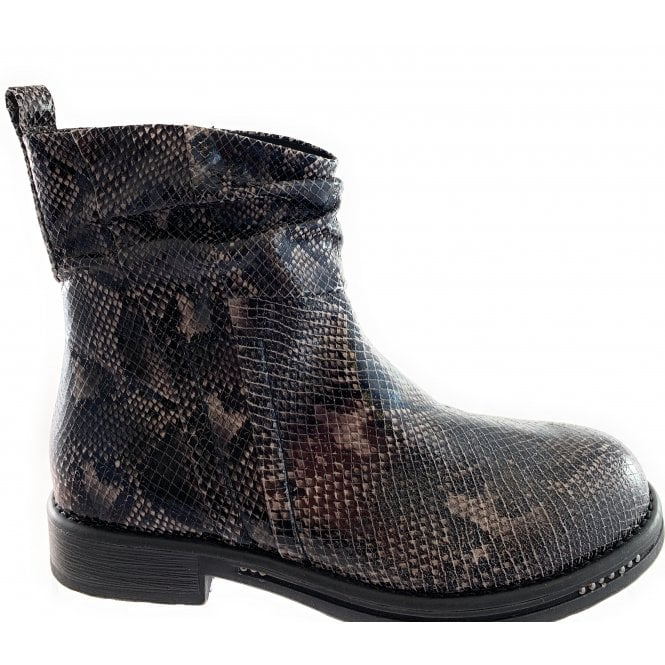 Marco Tozzi 25862-33 Taupe and Black Snake-print Ankle Boot