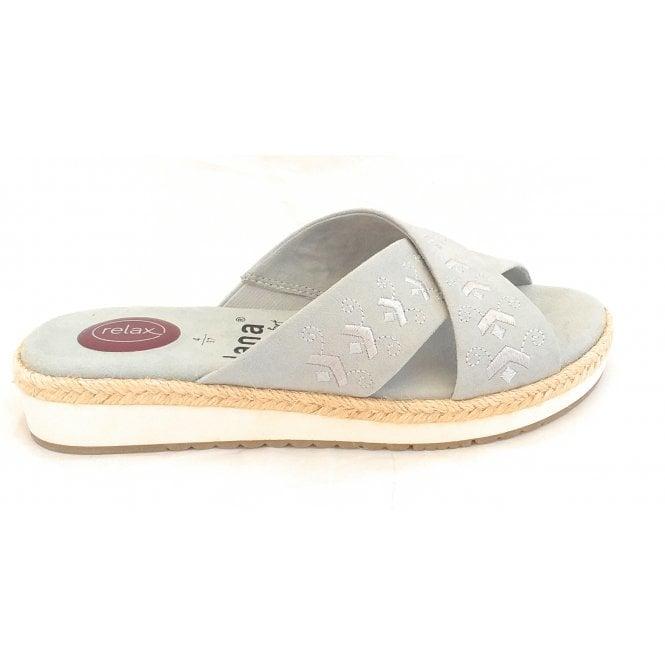 Jana 27101 Light Grey Suede Mule Sandal