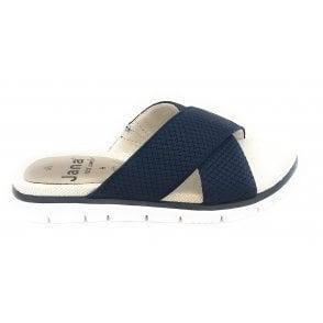 27103 Navy Textile Mule Sandal