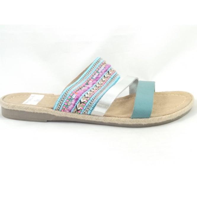 Marco Tozzi 27107 Rope Turquoise Multi Open-Toe Mule Sandal