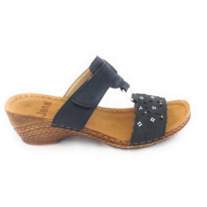 Jana 27206 Black Leather Mule Sandal