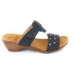 27206 Black Leather Mule Sandal