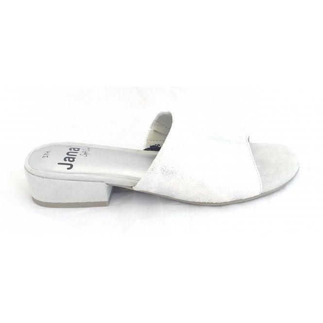 Jana 27260 White and Silver Metallic Mule