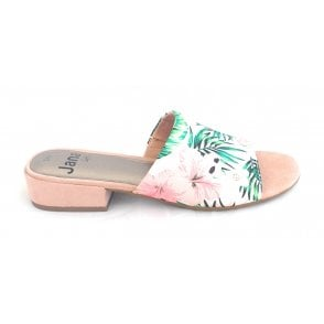 27260 White Floral Print Mule
