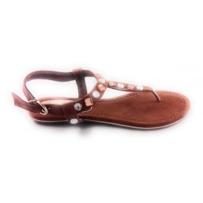 28102 Tan Faux Suede Toe-Post Sandal