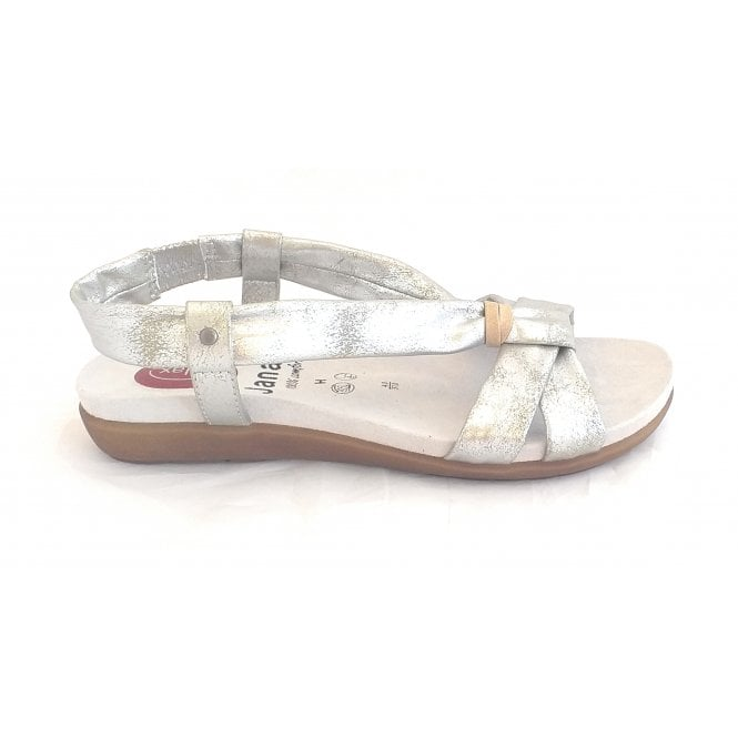 Jana 28103 Silver Leather Wide Fit Sandal