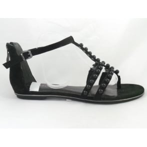 28110 Bivio Black Toe-Post Sandal