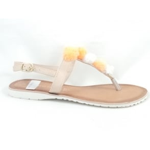 28127 Beige Leather Toe-Post Sandal