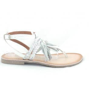 28129 White and Silver Leather Toe-Post Sandal