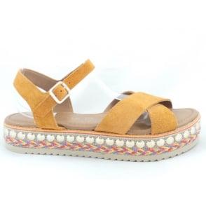 28144 Orange Suede Open-Toe wedge Sandal