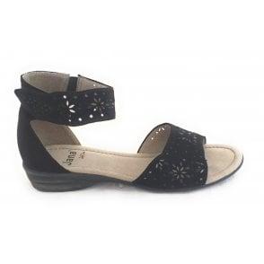 28162 Black Suede Open Toe Sandal