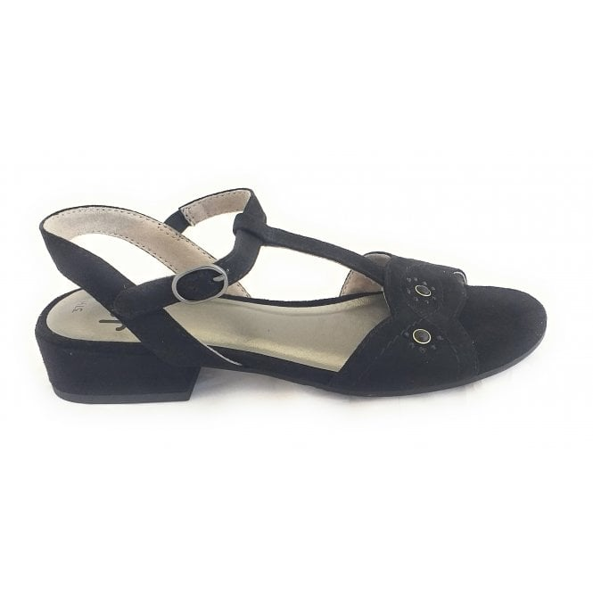 Jana 28260 Black Suede Open-Toe Sandal