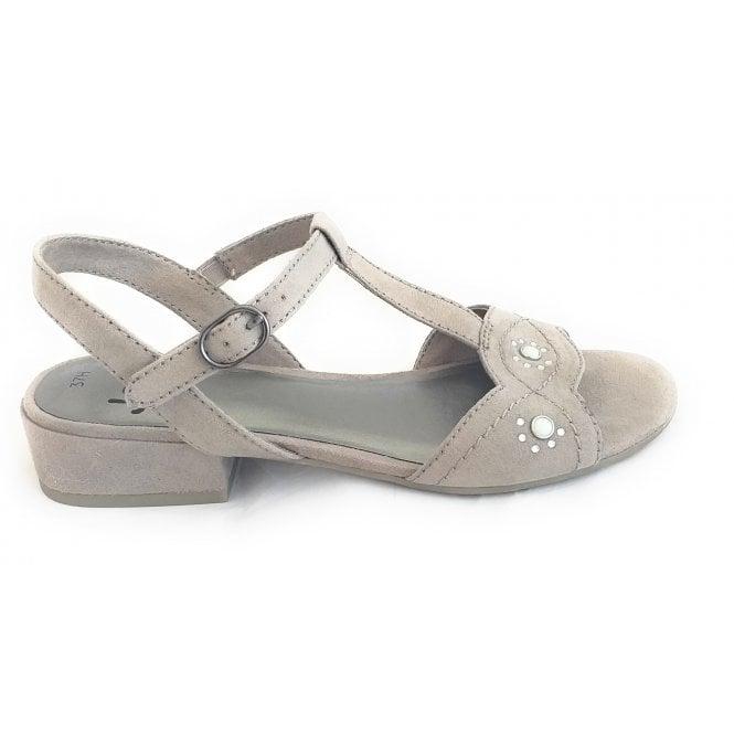 Jana 28260 Light Taupe Suede Open-Toe Sandal