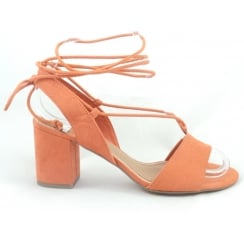 28309 Paduli Orange  Faux Suede Open-Toe Sandal