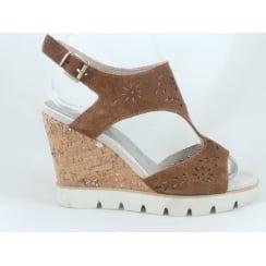 28354 Casella Tan Suede Wedge Sandal