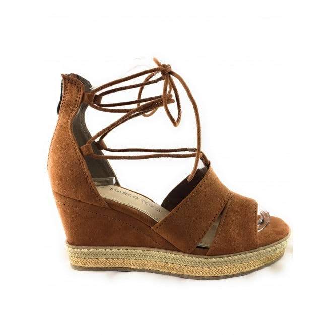 c3926ca25fc7 Marco Tozzi 28368 Tan Suede Open-Toe wedge Sandal - Marco Tozzi from  size4footwear.com UK