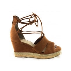 28368 Tan Suede Open-Toe wedge Sandal