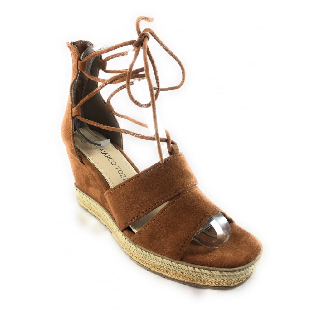 874ec77430a3 Marco Tozzi 28368 Tan Suede Open-Toe wedge Sandal - Marco Tozzi from ...