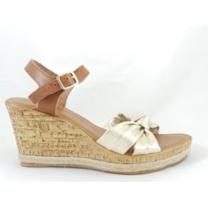 28372 Tan and Gold Leather Open-Toe Wedge Sandal