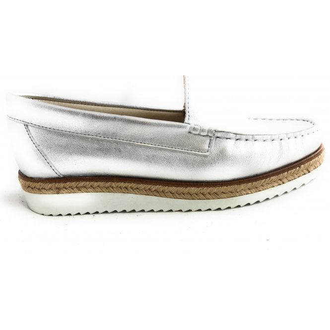 HB 302 Liso Silver Leather Espadrille Loafer