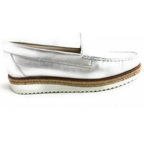 302 Liso Silver Leather Espadrille Loafer