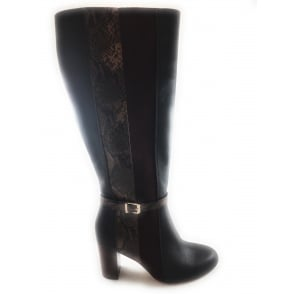 40381 Bohdi Bordo Leather and Snake Print Knee-High Boot