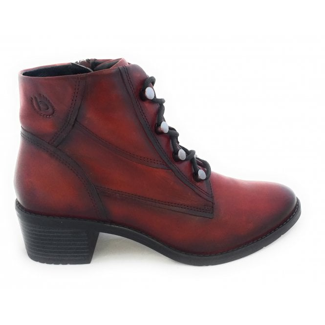 Bugatti 411-5623E Ruby Red Leather Ankle Boots