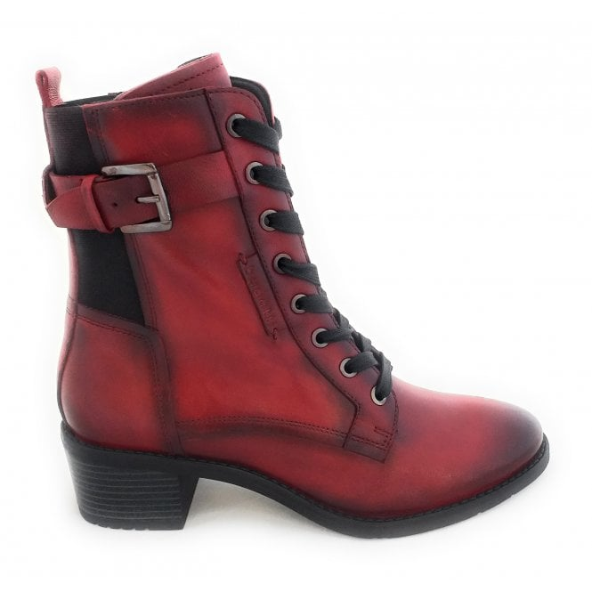 Bugatti 411-5623L Ruby Red Leather Ankle Boots