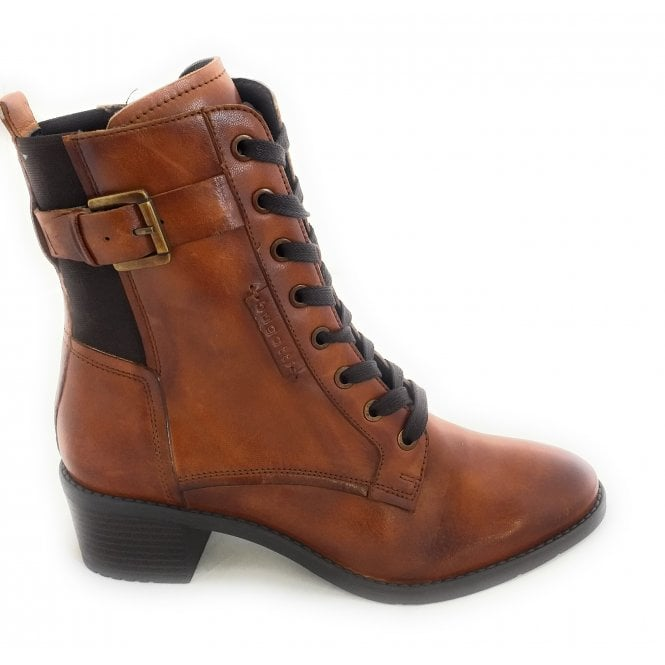 Bugatti 411-5623L Ruby Tan Leather Ankle Boots