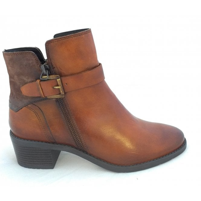 Bugatti 411-5623N Ruby Tan Leather Ankle Boots