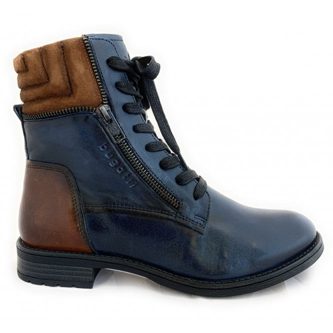 Bugatti 411-563Q Ronja Navy and Tan Leather Ankle Boots