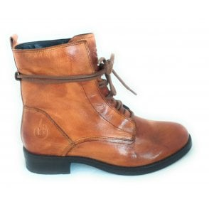 411-99832 Sinja Tan Leather Lace-Up Ankle Boots
