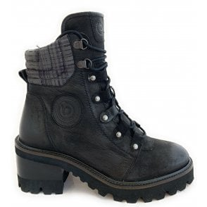 411-A4R33 Tai Black Leather Ankle Boots