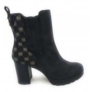 411-A5030 Amila Black Faux Leather Heeled Boots