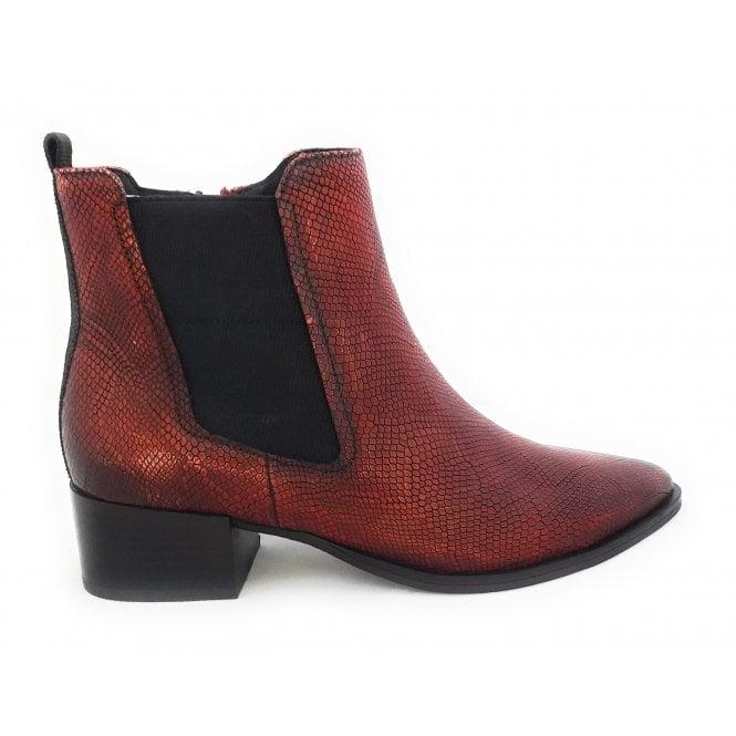 Bugatti 412-83234 Susanna Red Snakeprint Ankle Boots