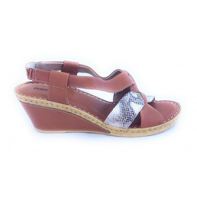 Aeros 4120 Tan Leather Wedge Sandal