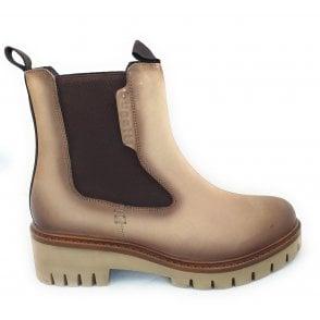 413-A0151 Dori Beige Leather Chelsea Boots