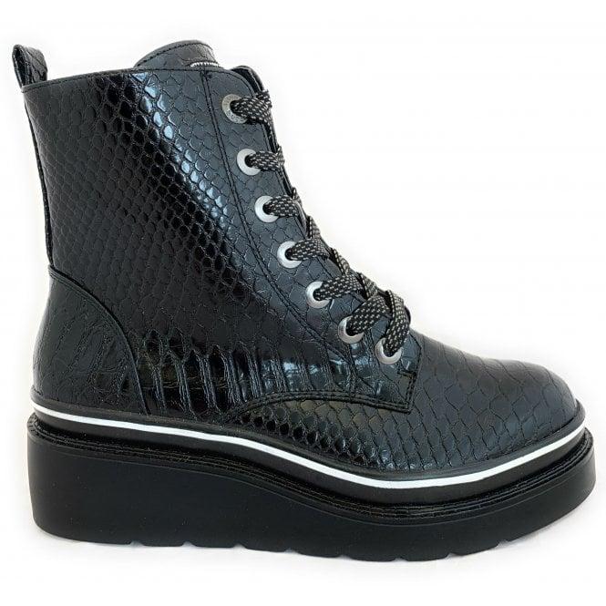 Bugatti 431-77031 Marcella Black Reptile Print Ankle Boots
